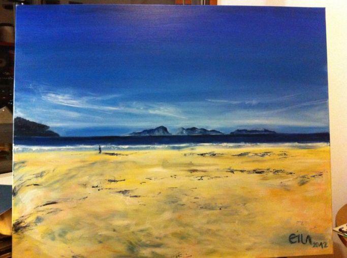 """Contemplando las  Islas Cíes, verano 2012"" Óleo sobre lienzo 100 x 90 cm ©Eila Pérez Vázquez"
