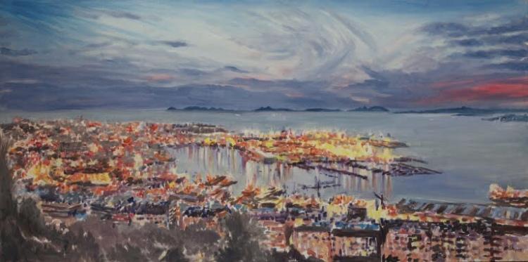 """""""Ciudad de Vigo"""". Óleo sobre lienzo, 160 x 80 cm.Eila Pérez Vázquez. Colectivo Arte Miúda. Obra realizada para """"Hotel Boutique Agua de Mar"""". Vigo, 2015."""
