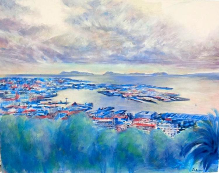 """Blue Vigo"" 100 x 80 cm Óleo sobre lienzo Eila Pérez Vázquez. Colectivo Arte Miúda 2014"