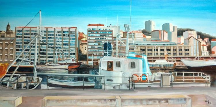 """""""Puerto de Vigo"""" Óleo sobre lienzo, 160 x 80 cm.Eila Pérez Vázquez. Colectivo Arte Miúda. Obra realizada para """"Hotel Boutique Agua de Mar"""". Vigo, 2015"""